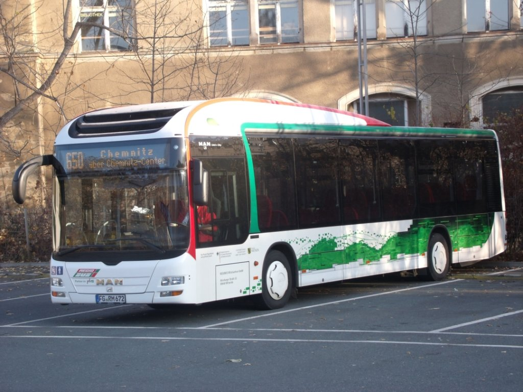RBM - MAN Loin´s City - Hybrid - FG RM 672 - in Chemnitz, Omnibusbahnhof - am 17.November 2012